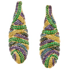 Multi-Color Diamond, Sapphire and Emerald Drop Earrings in Yellow Gold