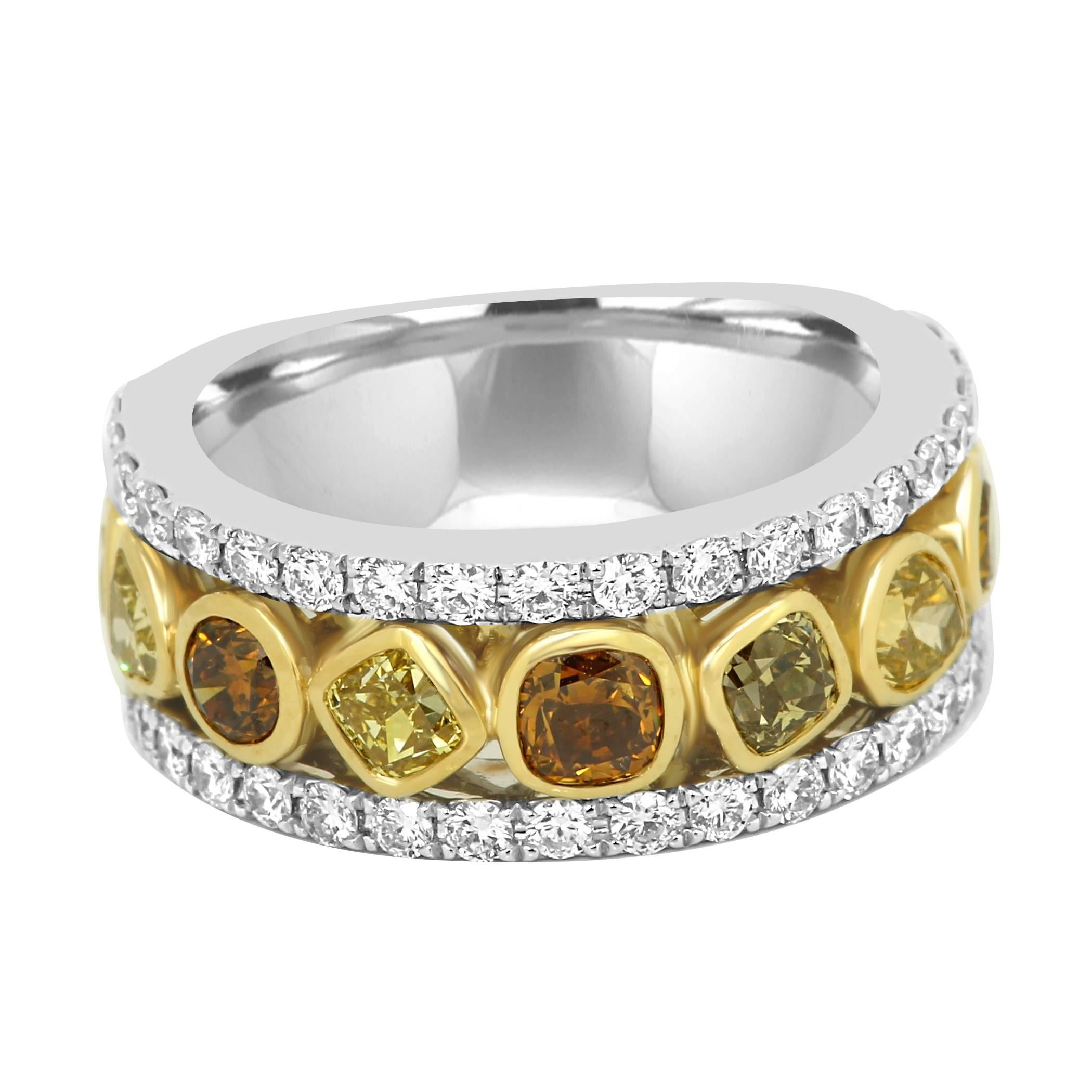 Multi-Color Diamond Three-Row Two-Color Gold Fashion Cocktail Band Ring