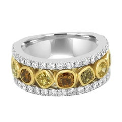 Multi-Color Diamond Three-Row Two-Color Gold Band Ring