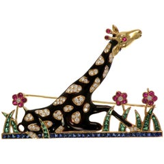 Multi-Color Enamel Brown Giraffe Brooch