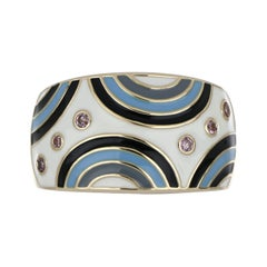 Multi Color Enamel Ring with Pink Sapphire in 14 Karat Yellow Gold
