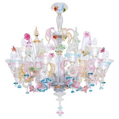 Multi-Color Floral Chandelier in Blown Murano Glass Deco, Giovanni Dalla Fina
