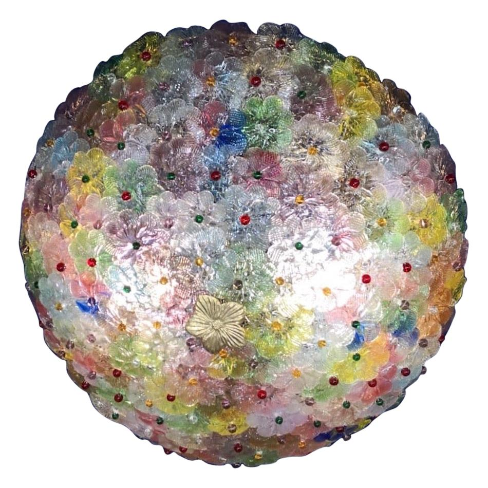 Multi-Color Flowers Basket Murano Glass Ceiling Light