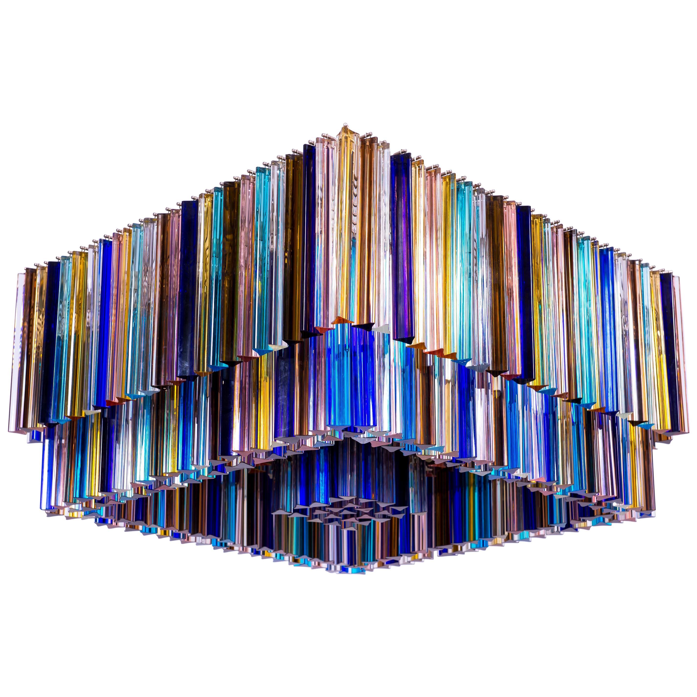 Italian Flush Mount in Murano Glass Multi color Elements by Giovanni Dalla Fina