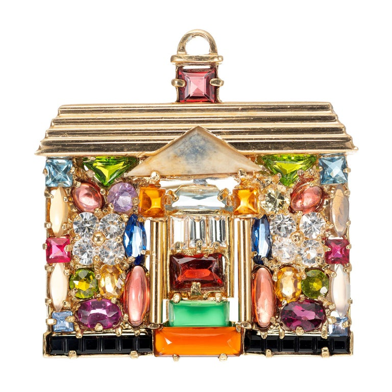 Multi-Color Gemstone 14 Karat Yellow Gold House Pendant Brooch