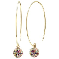 Multi-Color Gemstone and Diamond Disco Ball Earrings, Gold, Ben Dannie