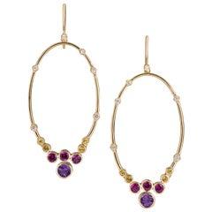 Multi-Color Gemstone and Gold Constellation Hoop Earrings