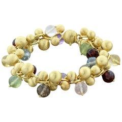 Multi-Color Gemstone Bead Gold Bracelet