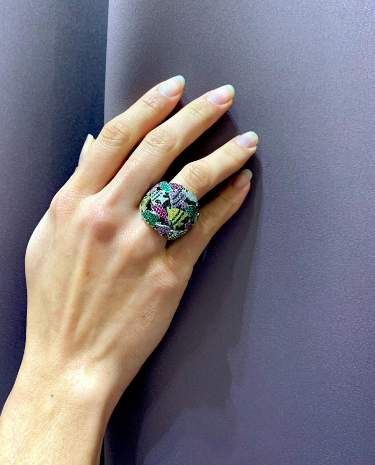 Contemporary Multi-Color Gemstone Cocktail Ring in White and Yellow Gold For Sale