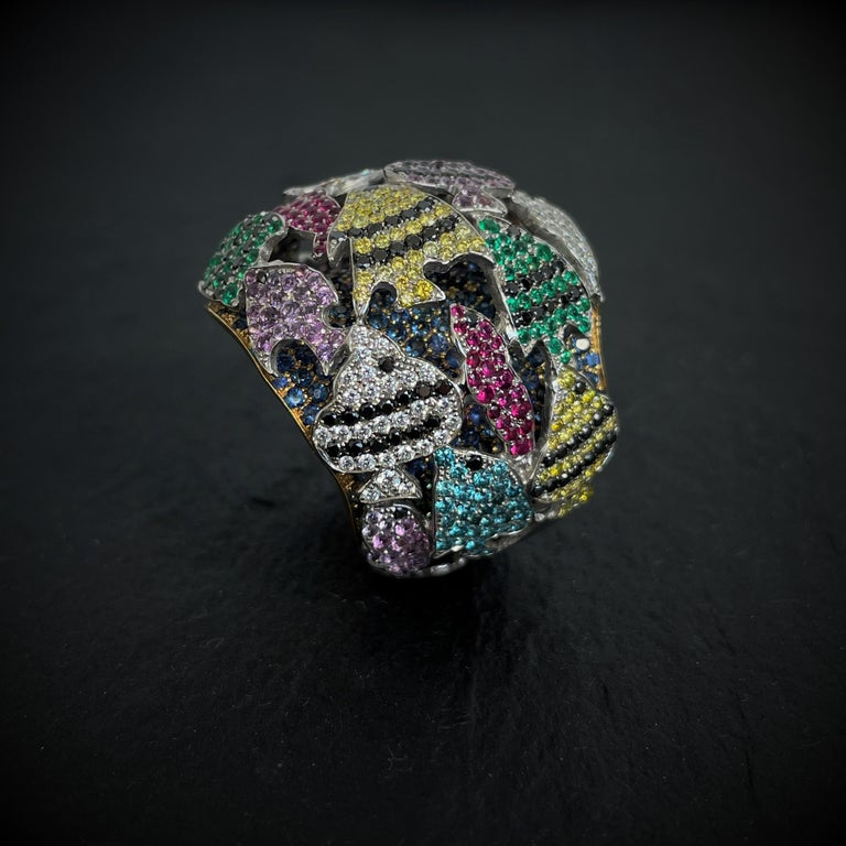 Round Cut Multi-Color Gemstone Cocktail Ring in White and Yellow Gold For Sale