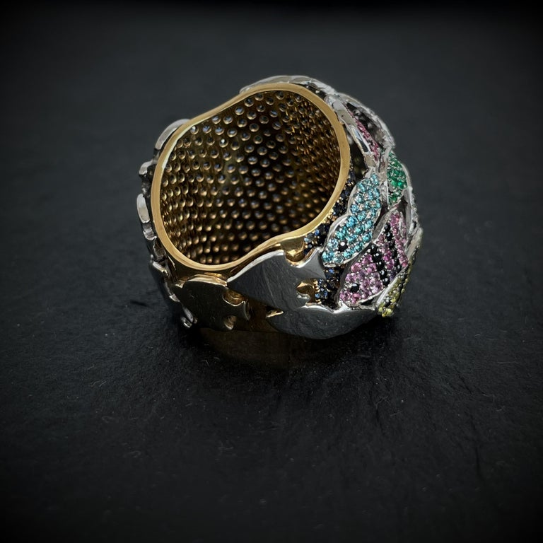 Multi-Color Gemstone Cocktail Ring in White and Yellow Gold In New Condition For Sale In Porto, PT