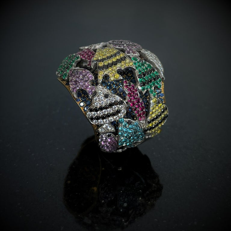 Multi-Color Gemstone Cocktail Ring in White and Yellow Gold For Sale 1