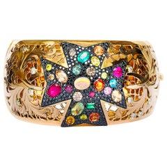 Multi-Color Gemstone Contemporary Cuff Bracelet in 19.2 Karat Rose Gold