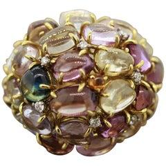 Multi-Color Gemstone Diamond Gold Dome Cocktail Ring