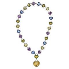 Multi-Color Gemstone Diamond Gold Heart Drop Necklace