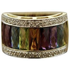 Multi-Color Gemstone Diamond Gold Ring Band