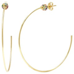 Multi-Color Gemstone Disco Ball Hoop Earrings, Gold, Ben Dannie