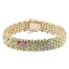Multi-Color Gemstone Floral Design 14 Karat Yellow Gold Bracelet