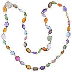 Multi-Color Gemstone Gold Long Necklace