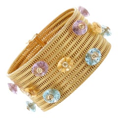 Multi-Color Gemstone Woven Yellow Gold Bracelet