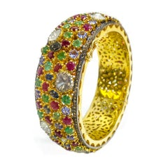 Multi-Color Gemstones and Diamond Bangle