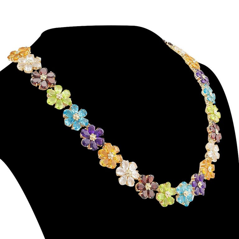 Contemporary Multi-Color Gemstones Flower Link Gold Necklace For Sale
