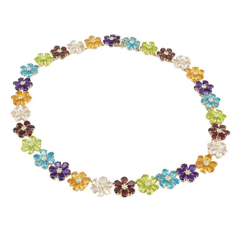 Pear Cut Multi-Color Gemstones Flower Link Gold Necklace For Sale