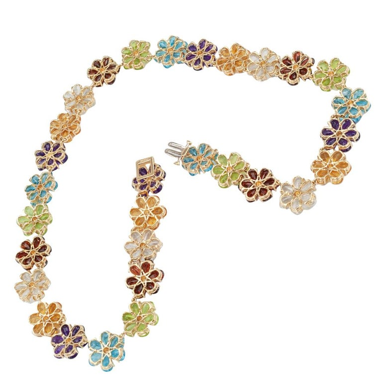 Multi-Color Gemstones Flower Link Gold Necklace In Good Condition For Sale In Los Angeles, CA
