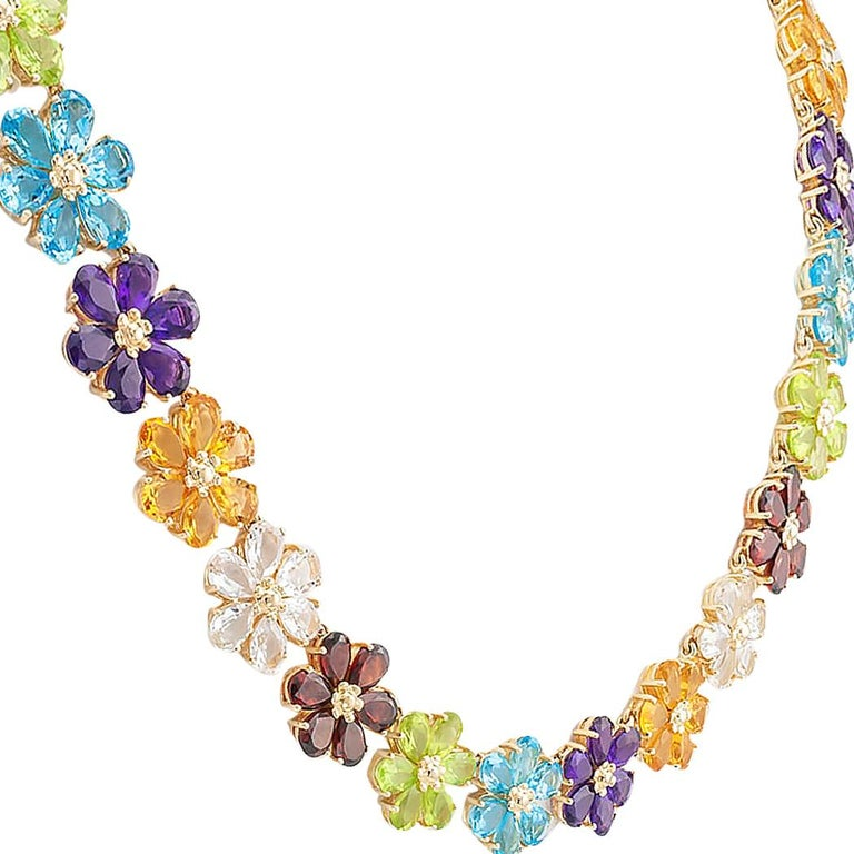 Women's Multi-Color Gemstones Flower Link Gold Necklace For Sale