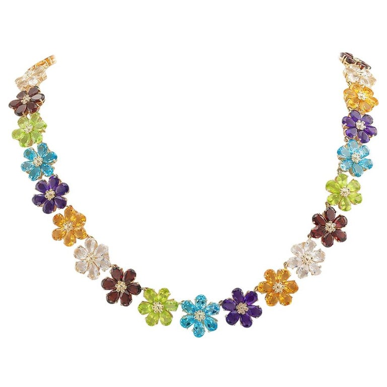 Multi-Color Gemstones Flower Link Gold Necklace For Sale