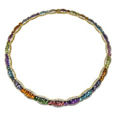 Semi-Precious Gemstones Yellow Gold Necklace