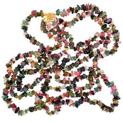 Multi Color Green Pink Tourmaline 3 Strand Gold Necklace