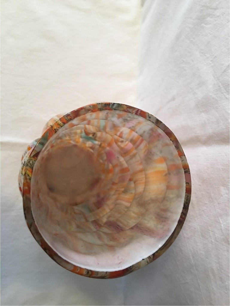 Multi-Color Hand Blown Murano Glass Vase from 1960s Italy For Sale 2