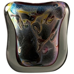 Multi-Color Heavy Murano Cased Glass Sommerso Vase with Gold Inclusions