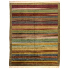 Multi-Color Indian Stripe Wool Area Rug