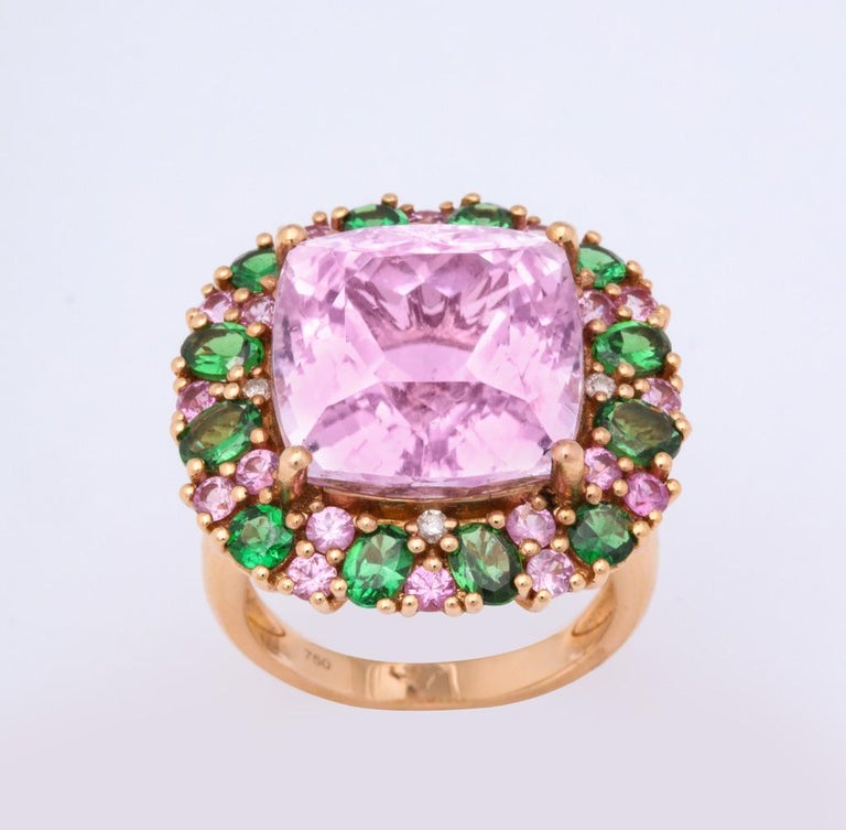 Multi-Color Kunzite Tsavorite Garnet Diamond Gold Cocktail Ring In New Condition For Sale In Bal Harbour, FL