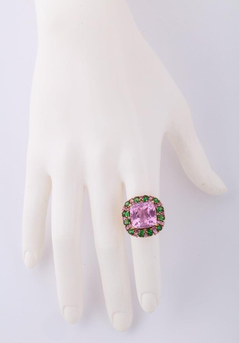 Women's Multi-Color Kunzite Tsavorite Garnet Diamond Gold Cocktail Ring For Sale