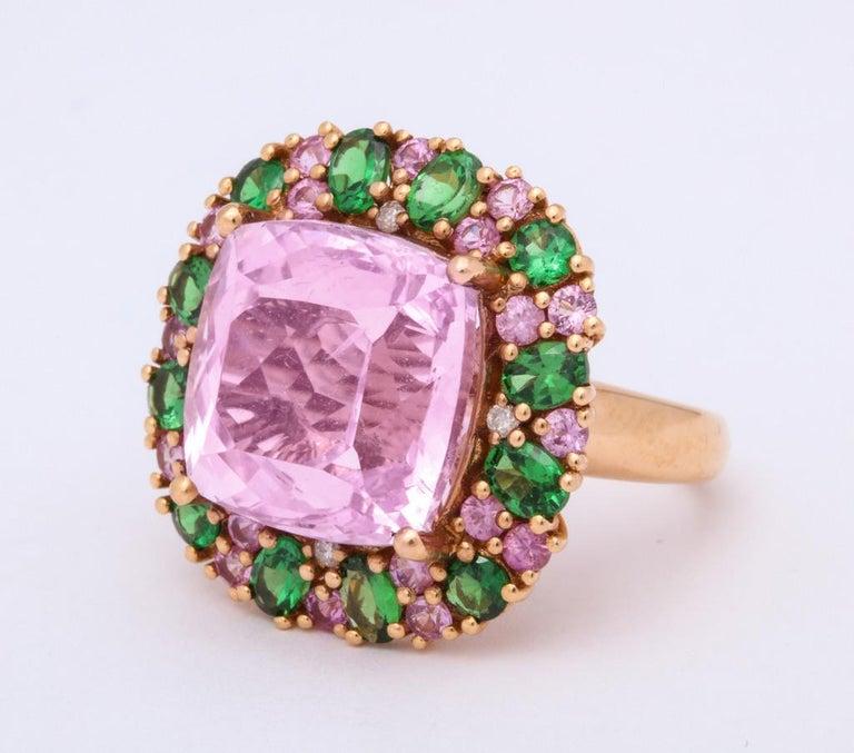 Multi-Color Kunzite Tsavorite Garnet Diamond Gold Cocktail Ring For Sale 1