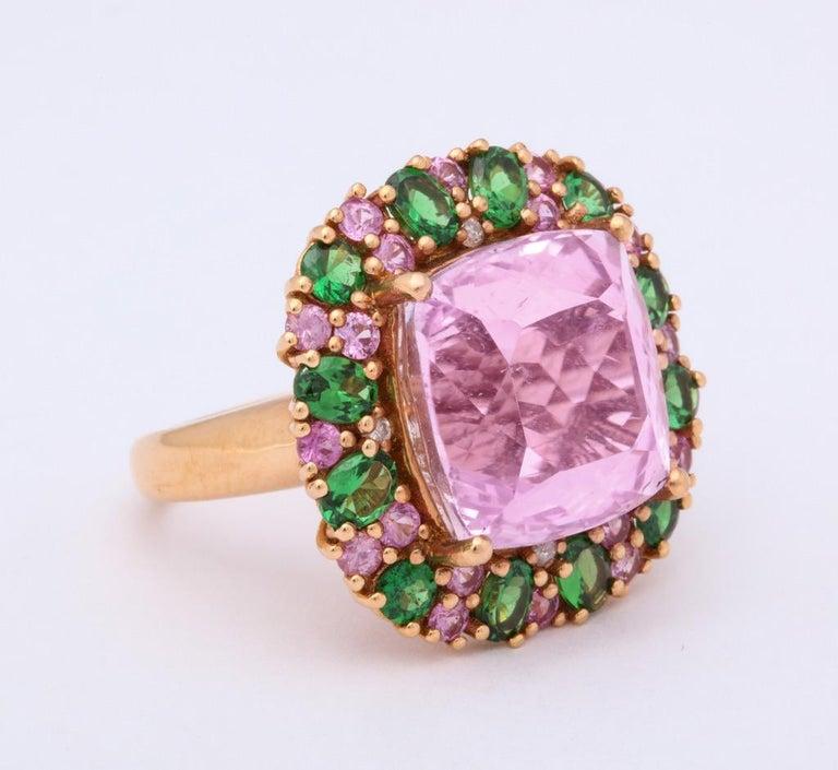 Multi-Color Kunzite Tsavorite Garnet Diamond Gold Cocktail Ring For Sale 2