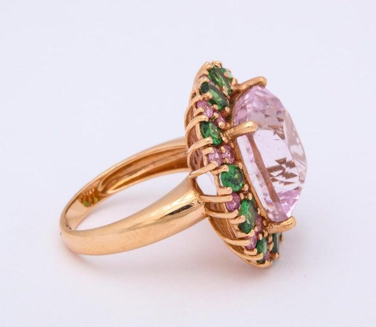 Multi-Color Kunzite Tsavorite Garnet Diamond Gold Cocktail Ring For Sale 3