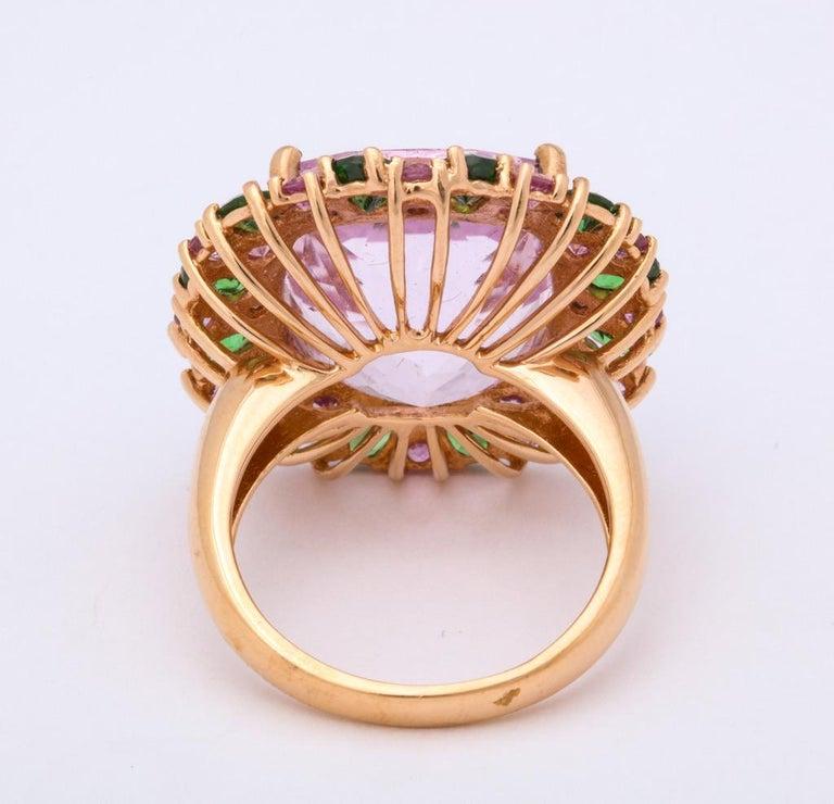 Multi-Color Kunzite Tsavorite Garnet Diamond Gold Cocktail Ring For Sale 4