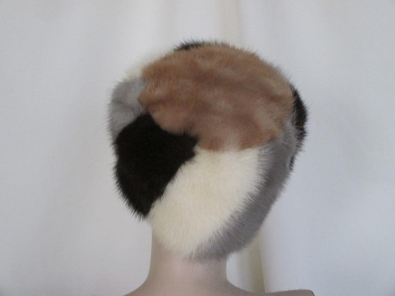 Women's or Men's Multi-color Mink Fur Hat For Sale