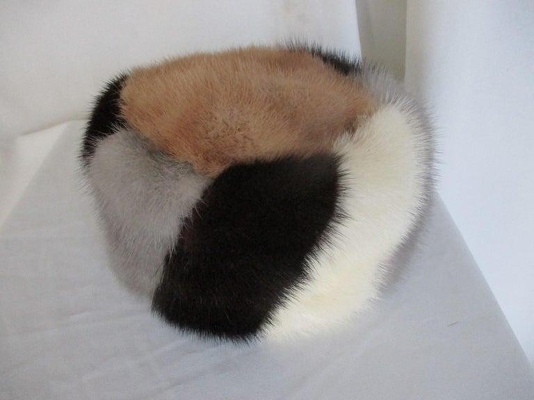 Multi-color Mink Fur Hat For Sale 1