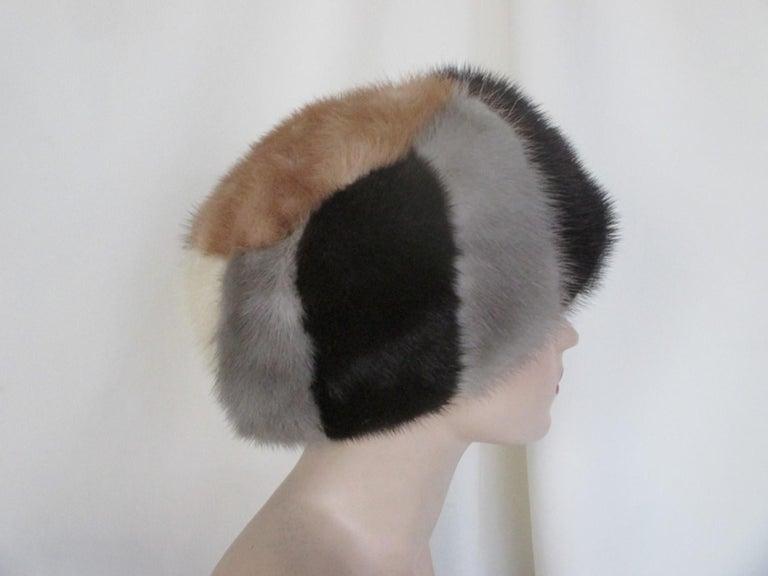 Multi-color Mink Fur Hat For Sale 2