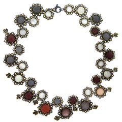 Multi-Color Moonstone and Diamond Sterling Silver Gold Flower Necklace