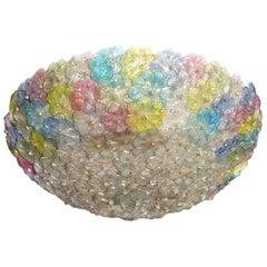 Multi-Color Murano Flower Glass Big Ceiling Light, 1950s
