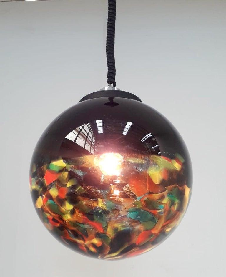 Mid-Century Modern Multi-Color Murano Glass Globe Pendant For Sale