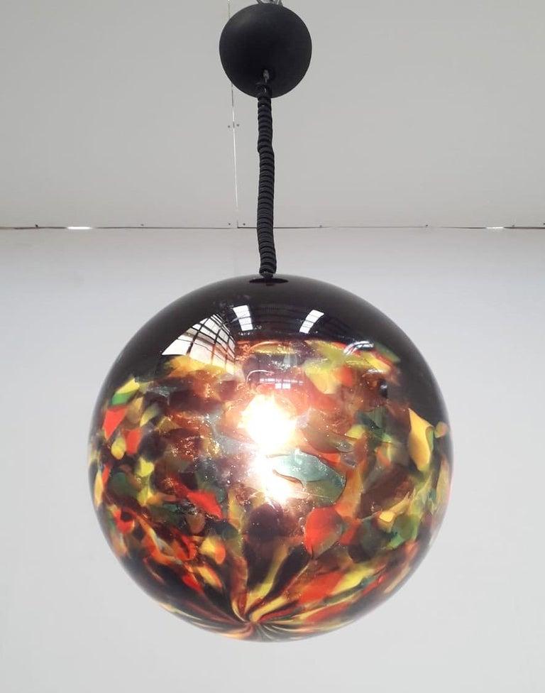 Italian Multi-Color Murano Glass Globe Pendant For Sale