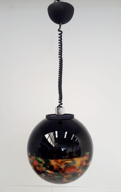Multi-Color Murano Glass Globe Pendant In Good Condition For Sale In Palm Springs, CA