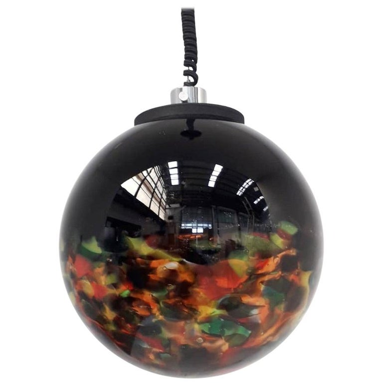 Multi-Color Murano Glass Globe Pendant For Sale
